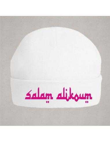Bonnet maternité salam alikoum rose