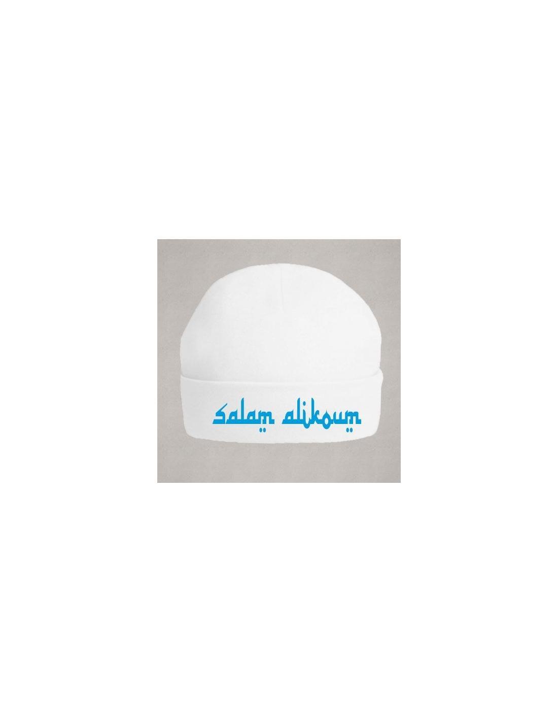 Bonnet bébé salam alikoum bleu
