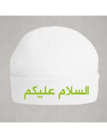 Bonnet de naissance Salam aleykoum vert en arabe