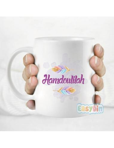 "Mug ""hamdoulilah"" double coeurs"