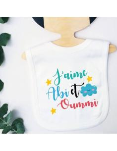 Bavoir bébé i love abi & oummi multicolore