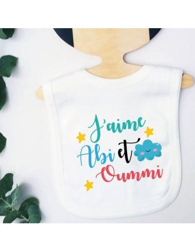"""Bavoir bébé """"i love abi & oummi"""" multicolore"""