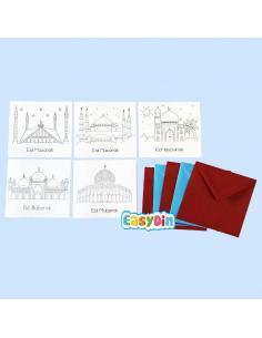 Lot de 5 cartes à colorier mosquée Eid Mubarak
