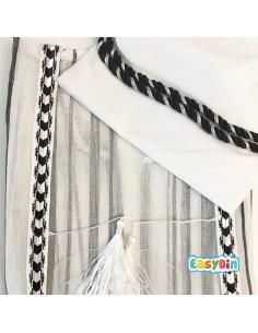 Bisht saoudien blanc et noir