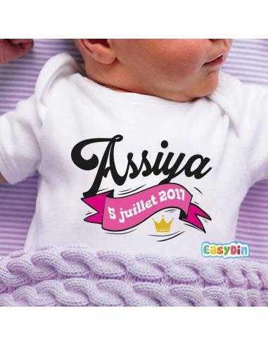 7b0da428caa75 Body bébé personnalisé date de naissance Coloris texte Rose Taille 0 ...