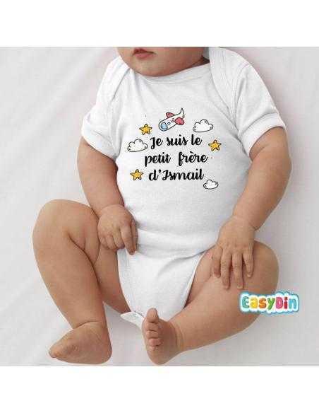 """Body bébé personnalisé """"petit frère de"""""""
