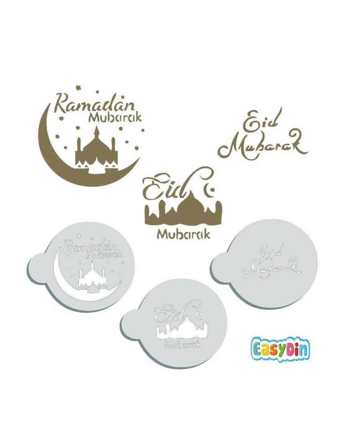 3 pochoirs à gateaux ramadan eid mubarak