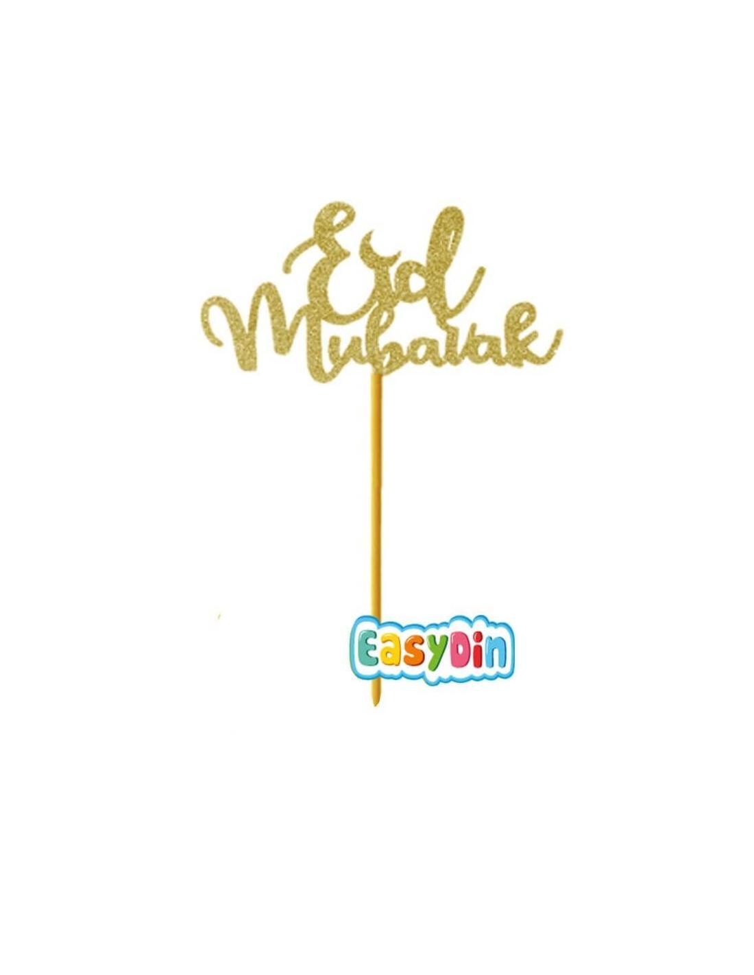 Piques à gâteau Eid Mubarak - dorés