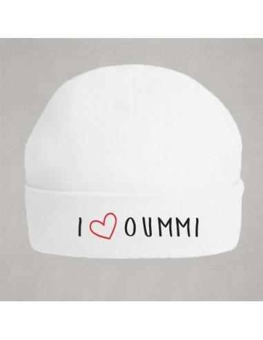 """Bonnet de naissance """"I love oummi"""""""