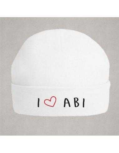 """Bonnet de naissance """"I love abi"""""""