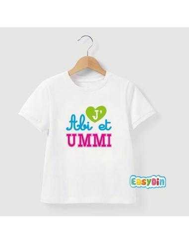 i love abi et ummi tee shirt islam enfant