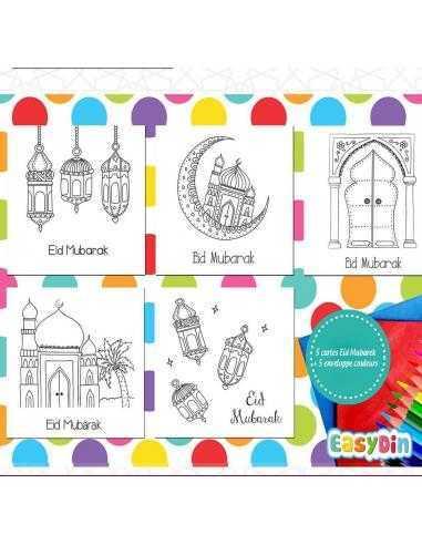 Lot de 5 cartes à colorier Eid Mubarak