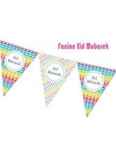 Fanion Eid mubarak arc en ciel