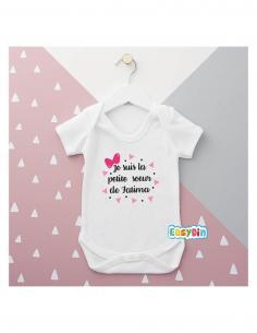 """Body bébé personnalisé """"petite soeur de"""""""