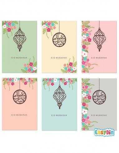 6 Cartes De Voeux Eid Mubarak + Enveloppe