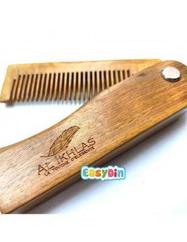 Peigne à barbe pliable en bois
